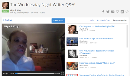 Author Aliya S. King hosts a live Q&A for writers every Wednesday on Spreecast_peoplewhowrite