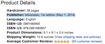 Milestones is listed as the publisher of Sunne's Gift - peoplewhowrite