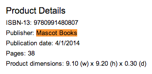 Mascot Books is listed as the publisher of Ama Yawson's Sunne's Gift on Barnes and Noble_peoplewhowrite