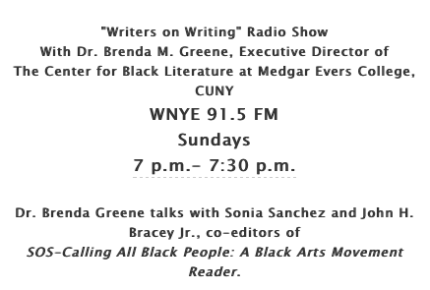 "Dr. Brenda M. Greene hosts The Center for Black Literature radio show ""Writers on Writing"" - peoplewhowrite"