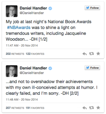Daniel Lemony Snicket Handler tweets apology for racially-tinged joke about Jacqueline Woodson's distaste of watermelon_peoplewhowrite