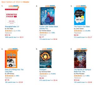 Top 6 Best Selling Books of 2014 via Amazon_peoplewhowrite
