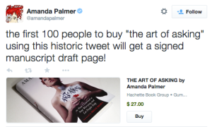 Hachette Author Amanda Palmer sells her book the Art of Asking on Twitter via Gumroad_peoplewhowrite
