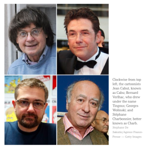 "Charlie Hebdo office struck by terrorists - Jean ""Cabu"" Cabut_Bernard ""Tingous"" Verlhac_Georges Wolinski_Stéphane ""Charb"" Charbonnier killed_peoplewhowrite"