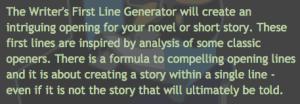 Writers Den First Line Generator_peoplewhowrite