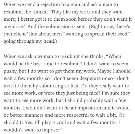 The difference between how male aspiring writers submit their work versus female writers_peoplewhowrite