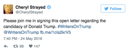 Cheryl Strayed tweets about WritersonTrump_peoplewhowrite
